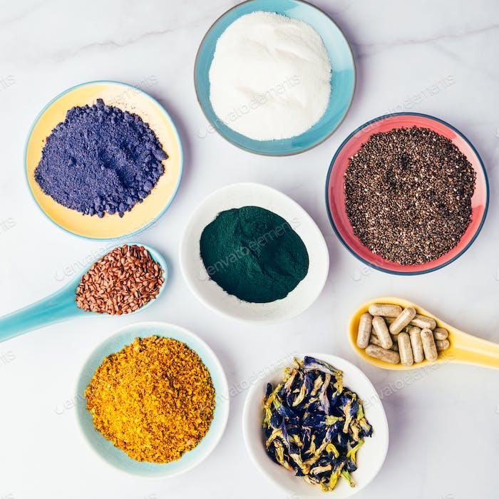 Variété de compléments alimentaires sains