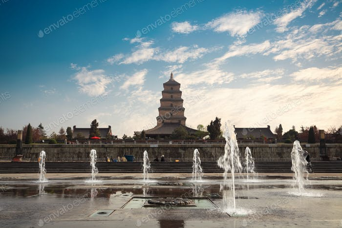 big wild goose pagoda with fountain