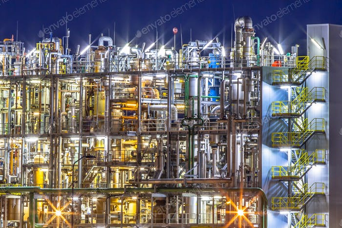 Industrial Chemical factory details at night