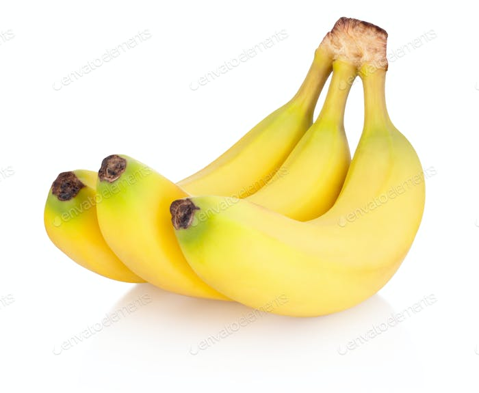 Three of bananas isolated on white background