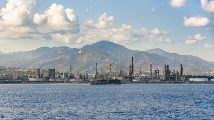 Industrial zone in Milazzo town on Sicily