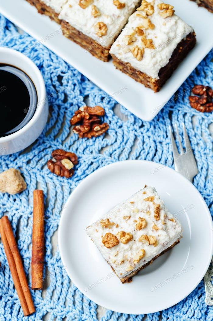 vegan walnuts carrot cake with cashew cream frosting
