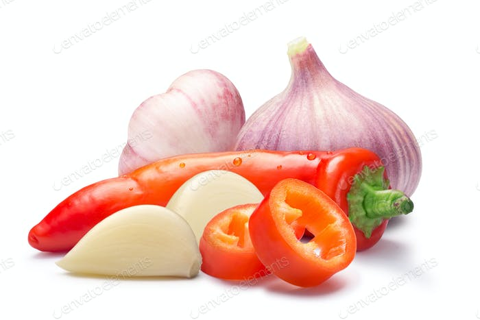 Hot wax paprika with garlic, paths