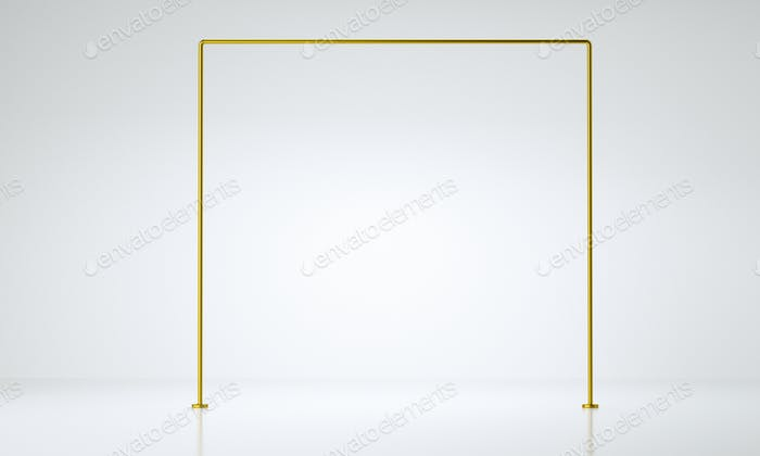 Gold frame product display. luxury concept. Abstract geometric background, 3D rendering