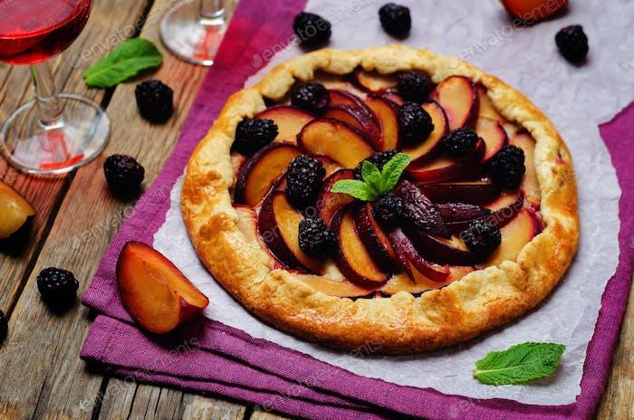 Plum blackberry galette