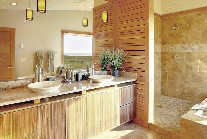 Shower and sinks in modern bathroom