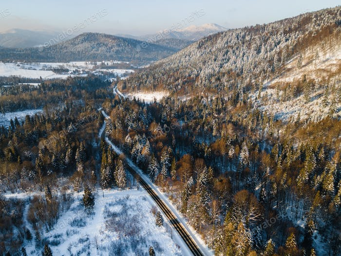 Winter Season Snowy Landscape. Bieszczady Mountains Park in Poland. Aerial Drone View