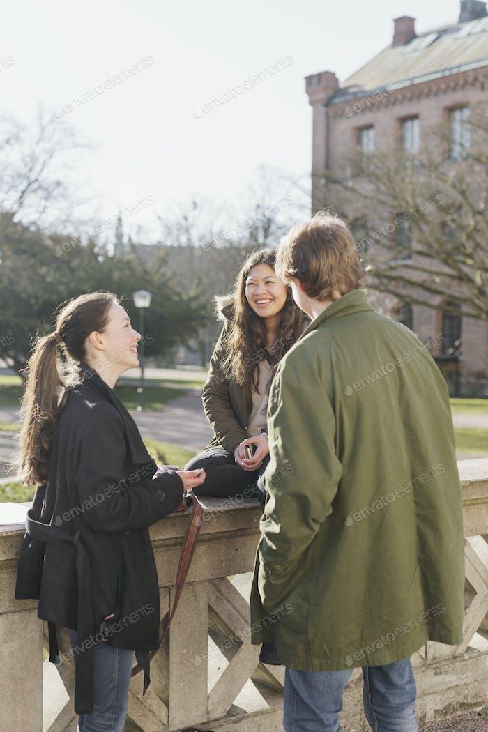 Happy teenage friends in college campus