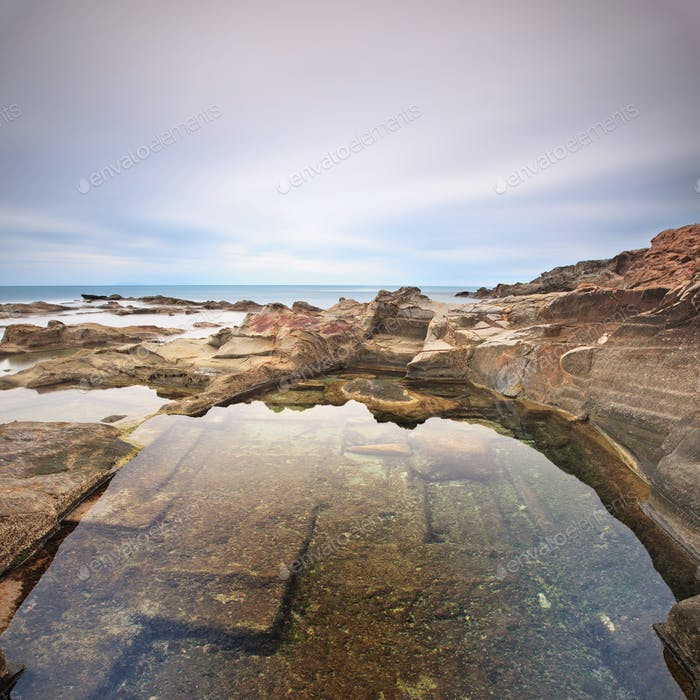 Le Vaschette water pool and rocks landscape near Livorno. Italy