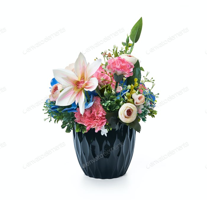 Flower arrangement in a blue vase