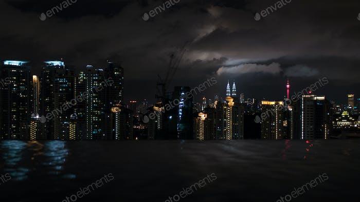 Night Kuala Lumpur, view from rooftop pool