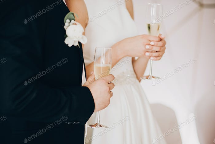 Stylish wedding couple holding champagne glasses and toasting