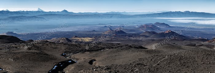 Panoramic Volcano Landscape of Kamchatka Peninsula: Series of Cinder Cones and Lava Fields