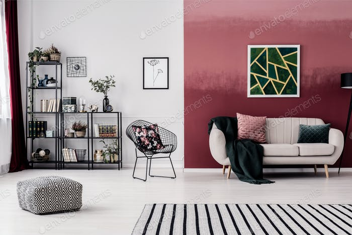 Room with burgundy wall