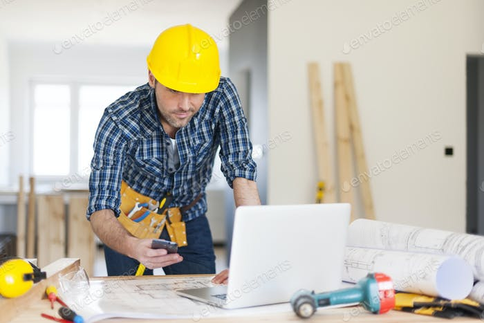 Mobility construction worker on workplace