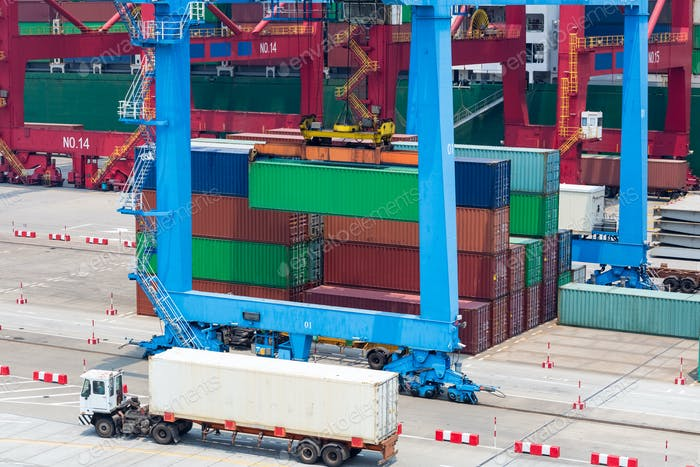 shipping container terminal closeup