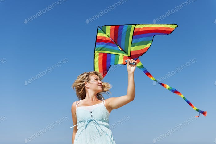Kite Flying Vacation Tropical Destination Cheerful Concept
