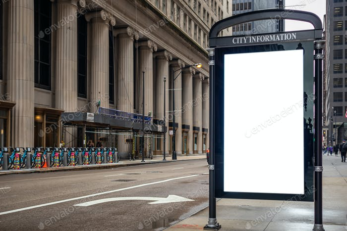 Placeit - Blank billboard at bus stop mockup template for advertising, Chicago city buildings