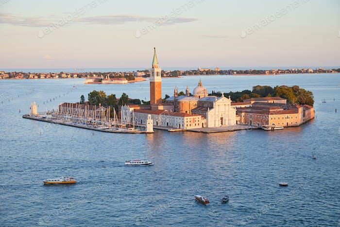 San Giorgio Maggiore island and basilica aerial view in Venice, Italy
