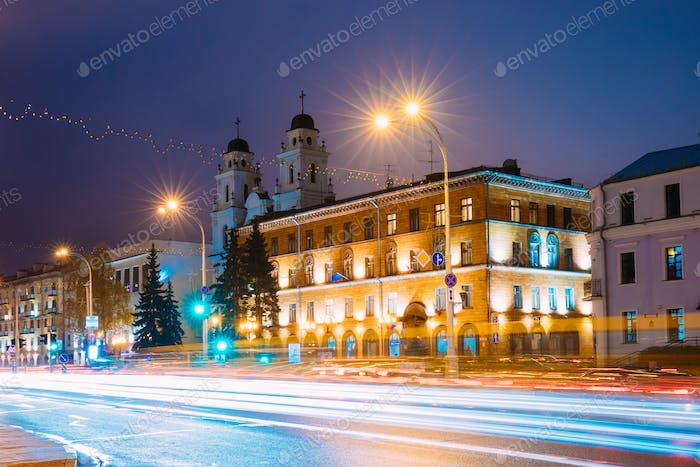 Minsk, Belarus. Night View Of Cathedral of Saint Virgin Mary And