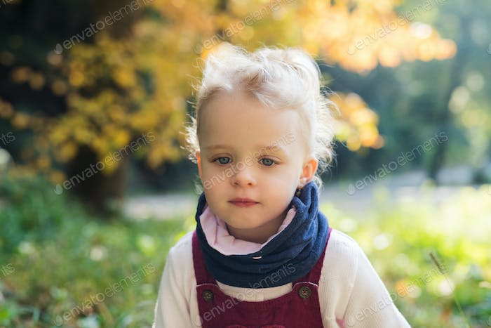 Front view portrait of a small toddler girl standing in autumn forest