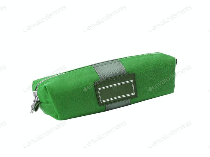 Small green bag isolated on white background