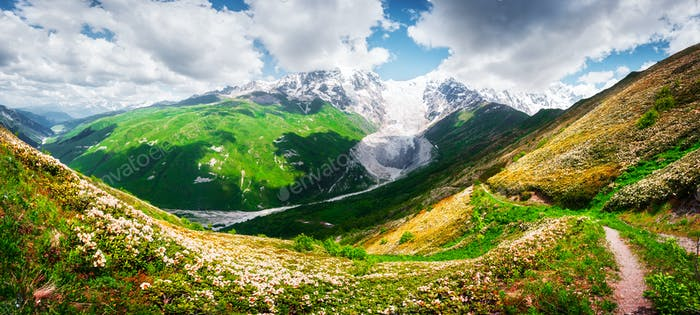Panorama of summer Caucasus Mountains