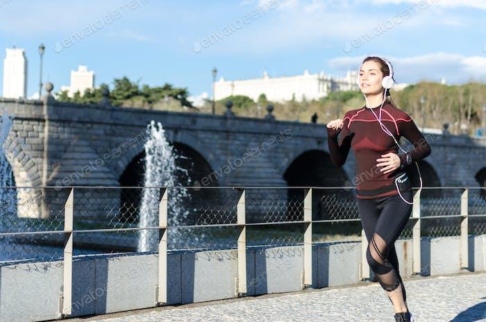 healthy happy woman enjoy jogging running outdoor listening music