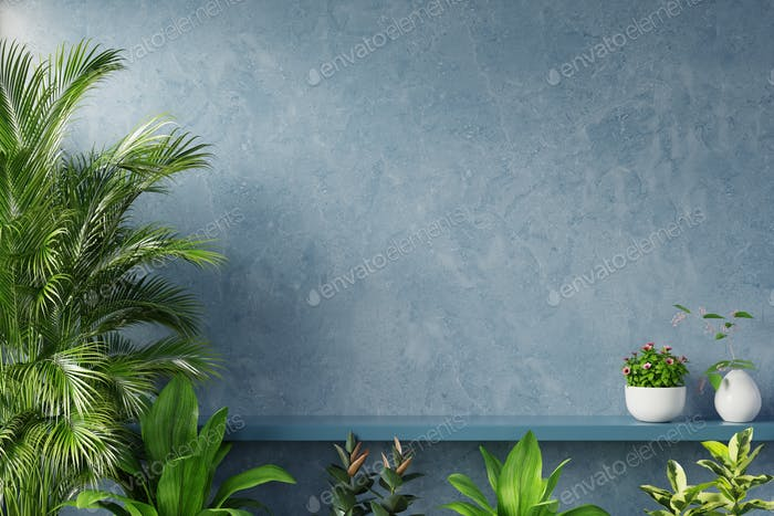Shelf on blue wall with green plant.