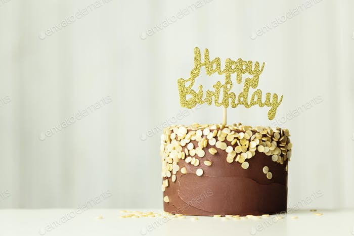 Chocolate and gold birthday cake