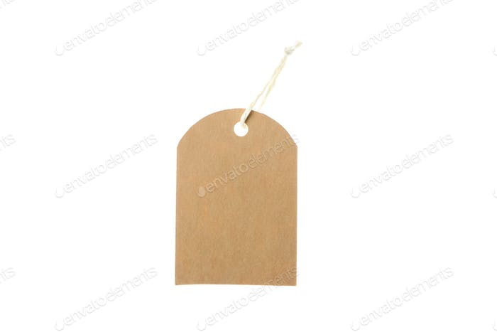 Cardboard blank tag isolated on white background. Black Friday sale