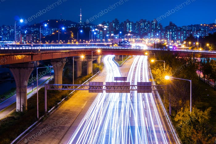 Highway with traffic light in Seoul