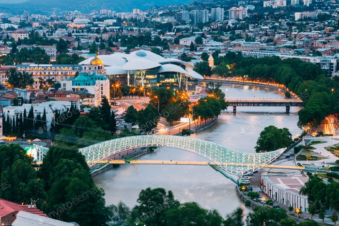 Top Illuminated Cityspape View Of Kura River Under Bridges And C