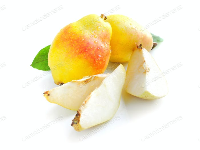 Fresh ripe pears isolated on white background