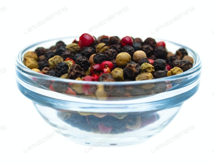 Pepper grains in glass dish front view