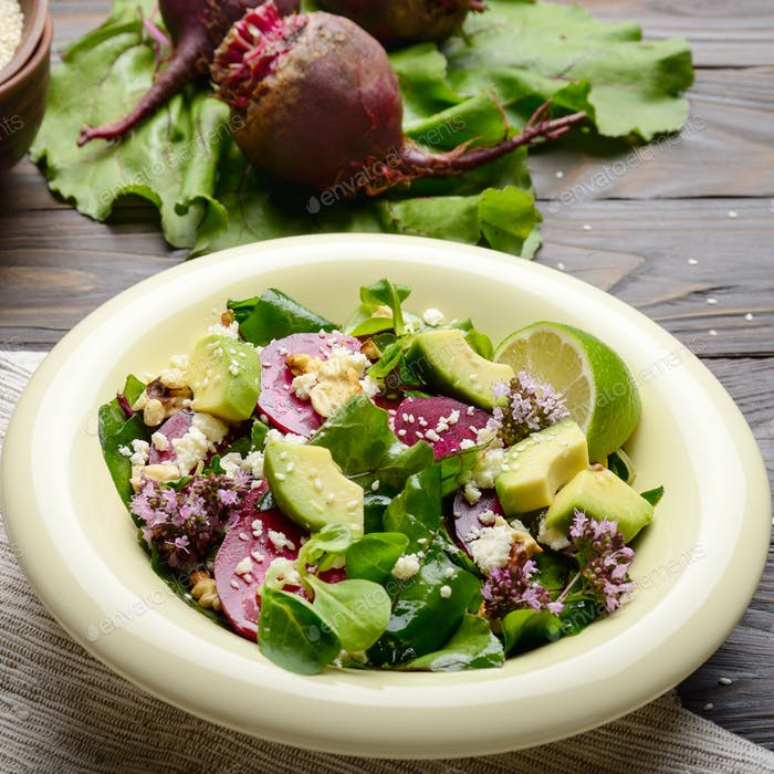 Mediterranean roasted beet salad with avocado walnuts feta chees