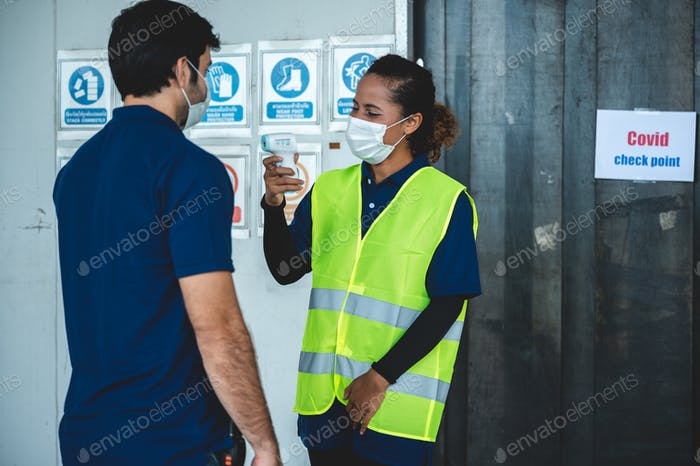 business worker with surgical face mask, coronavirus COVID-19 protection concept