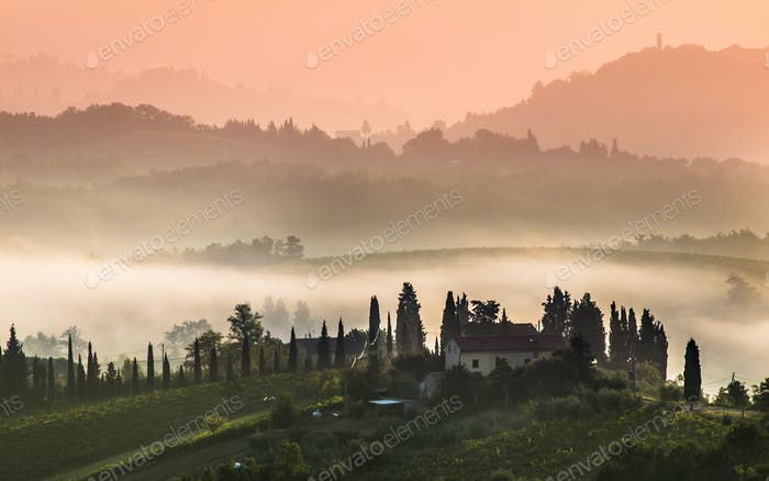 Tuscany Village Landscape on a Morning in August