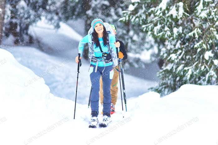 Ski touring in the woods