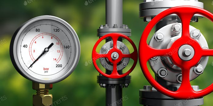 Thumbnail for Industrial manometer, pipelines and valves on blur green background, 3d illustration