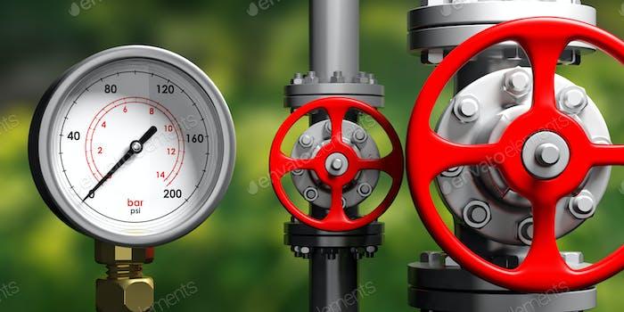 Industrie-Manometer, Rohrleitungen und Ventile auf unschärfen grünen Hintergrund, 3D Illustration