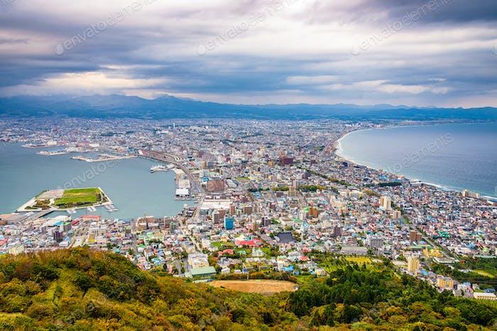 Hakodate, Hokkaido, Japan autumn skyline.
