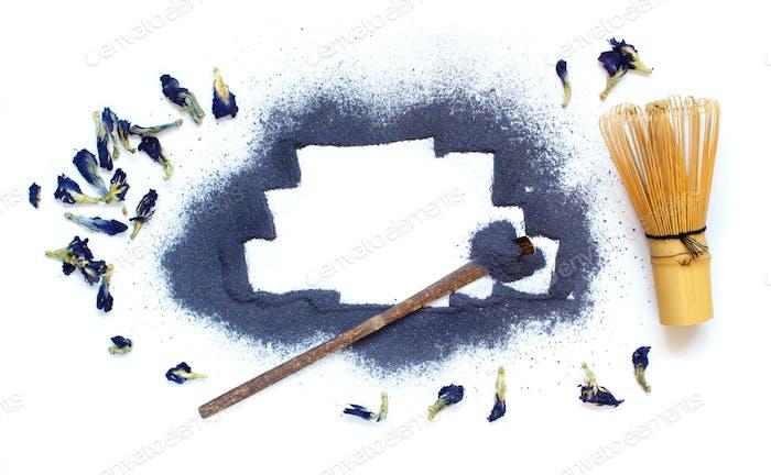 Blue matcha powder
