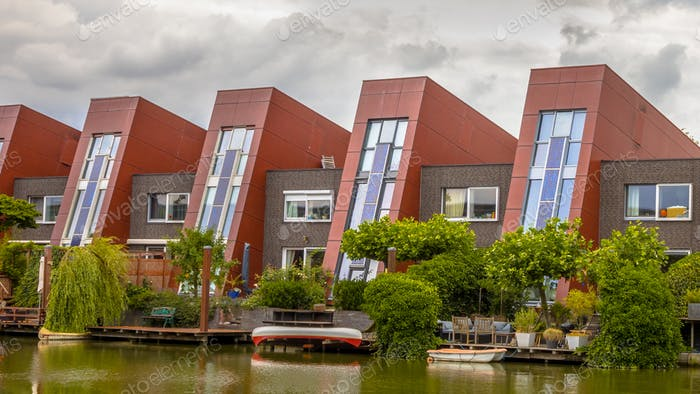Waterfront houses with vertical gardens