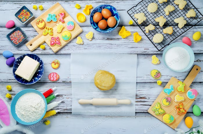 Sugar dough Easter cookies and ingredients for baking