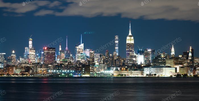 Night Landscape River Reflection New York City Skyline Empire St