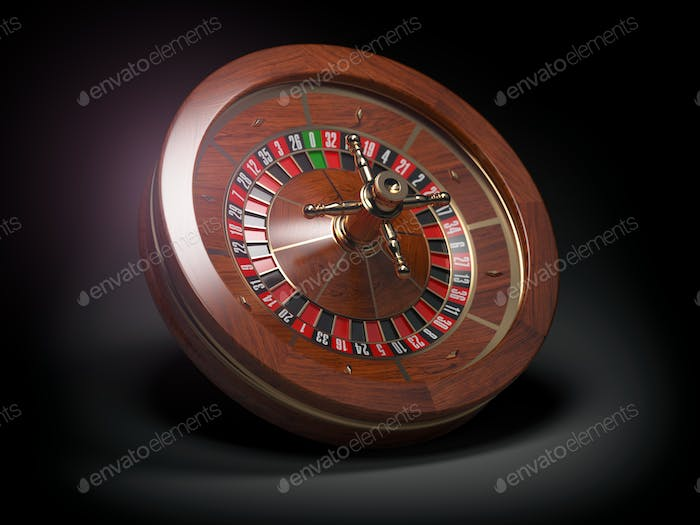 Casino roulette wheel on black background.