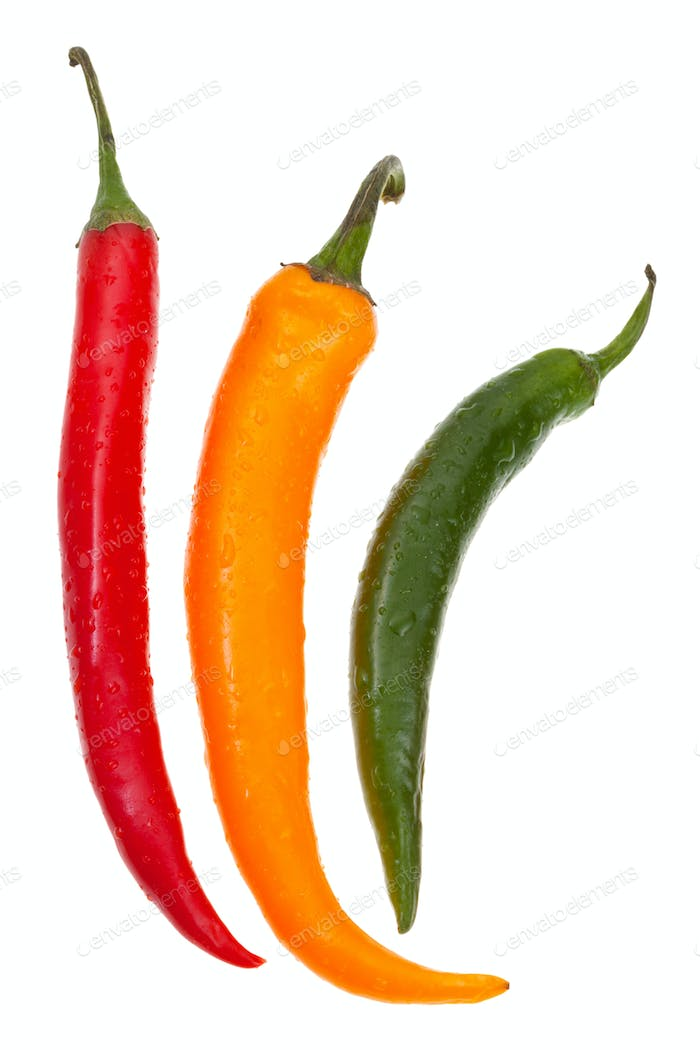 pods of different hot peppers