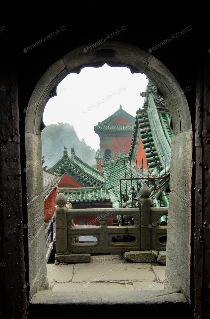 The roofs of the monasteries of Wudang. View from the arch.
