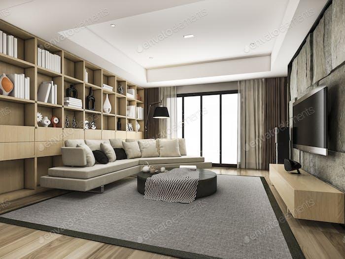 3d rendering loft scandinavian living room with pouf and bookshelf